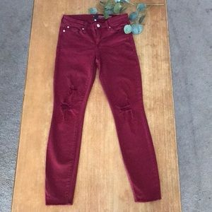Gap Distressed Burgundy Legging Skimmer/Cheville